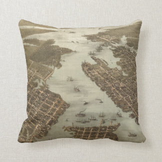 Vintage Map of Norfolk and Portsmouth VA (1873) Cushion