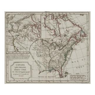 Vintage Map of North America (1795) Poster