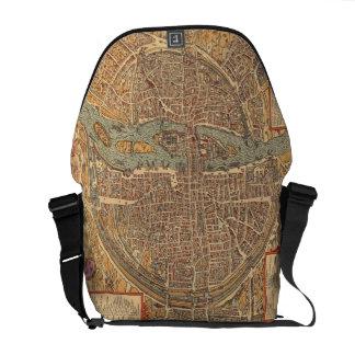 Vintage Map of Paris (1575) Courier Bag