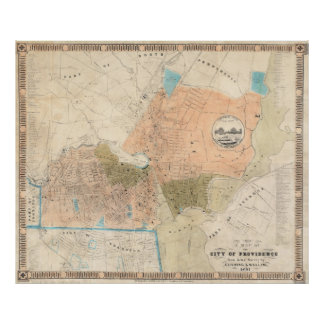Vintage Map of Providence Rhode Island (1851) Poster