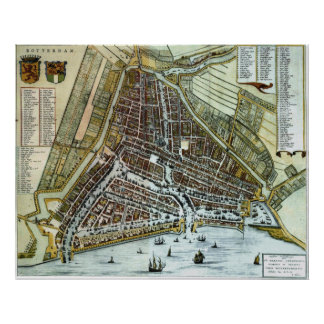 Vintage Map of Rotterdam Netherlands (1649) Poster