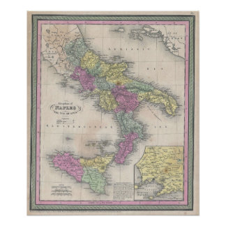 Vintage Map of Southern Italy (1853) Poster