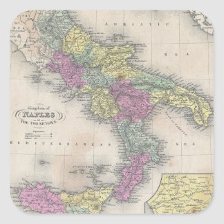 Vintage Map of Southern Italy (1853) Square Sticker