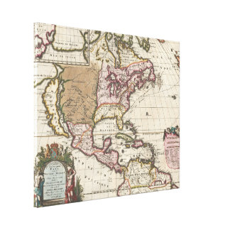 Vintage Map of The Americas (1698) Canvas Print