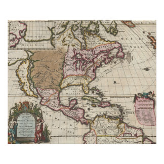 Vintage Map of The Americas (1698) Poster