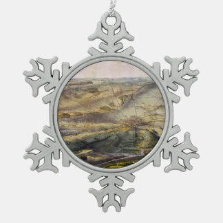 Vintage Map of The Gettysburg Battlefield (1863) Snowflake Pewter Christmas Ornament