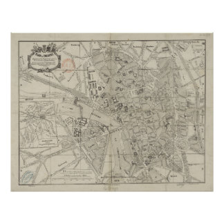 Vintage Map of Toulouse France (1844) Poster