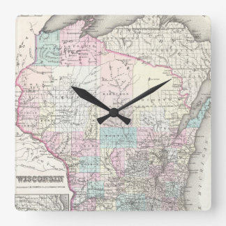 Vintage Map of Wisconsin (1855) Square Wall Clock