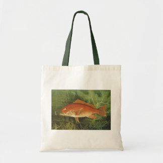 Vintage Marine Life, Red Snapper Fish in the Ocean Tote Bag