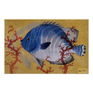 Vintage Marine Ocean Life Tropical Blue Fish Coral Posters