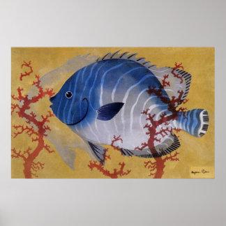 Vintage Marine Ocean Life Tropical Blue Fish Coral Posters