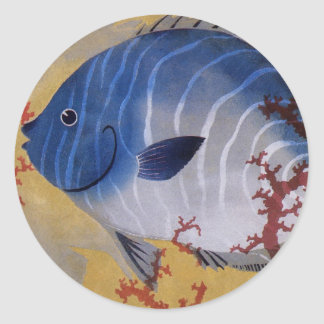 Vintage Marine Ocean Life Tropical Blue Fish Coral Round Sticker