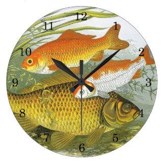 Vintage Marine Sea Life Fish, Aquatic Goldfish Koi Large Clock