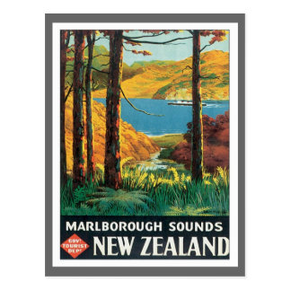 Vintage Marlborough Sounds New Zealand Postcard