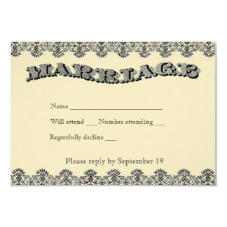 Vintage Marriage rsvp with envelopes 3.5x5 Paper Invitation Card
