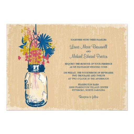 Vintage Mason Jar and Wildflowers Wedding Personalized Invitation