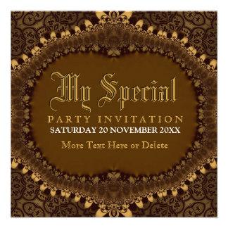 Vintage Mediaeval Gold Gothic Party Invitation