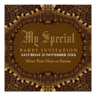 Vintage Medieval Gold Gothic Party Invitation