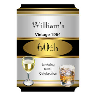 Vintage Mens 60th Birthday Party Gold Silver Drink Card