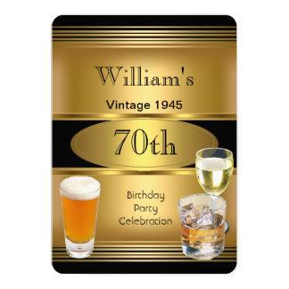 Vintage Mens 70th Birthday Party Gold Beer 1945 13 Cm X 18 Cm Invitation Card