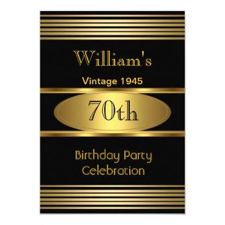 Vintage Mens 70th Birthday Party Gold Black 1945 13 Cm X 18 Cm Invitation Card