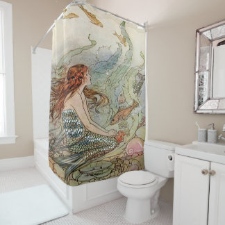Vintage Mermaid Dover Under The Sea Shower Curtain
