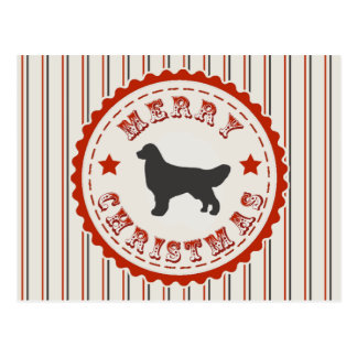 Vintage Merry Christmas Golden Retriever Dog Logo Postcard