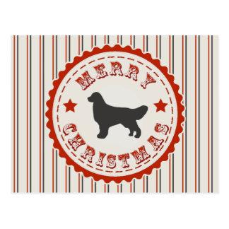 Vintage Merry Christmas Golden Retriever Dog Logo Postcard