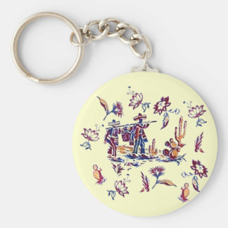Vintage Mexican Fabric Print Keychain