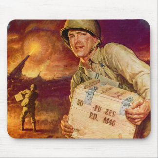 Vintage Military Pass the Ammunition World War Two Mouse Pad