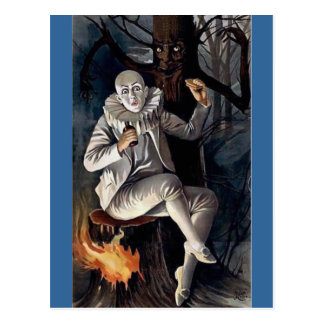 Vintage mime scary darl forest tree postcard