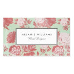 Vintage Mint Coral Peonies Floral Business Cards Business Card