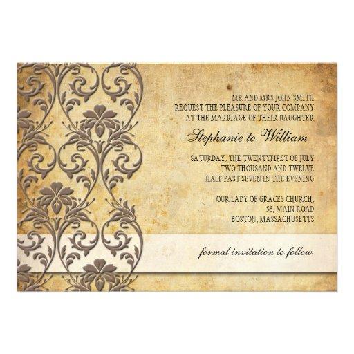 Vintage Mocha Floral Swirl Wedding Invitation