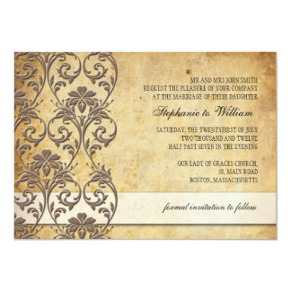 Vintage Mocha Floral Swirl Wedding Invitation