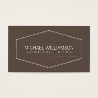 Vintage Modern Emblem on Brown Architect, Builder Business Card
