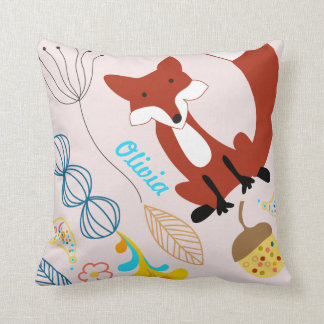 Vintage Modern Fox Acorn Woodland Pink Pillow