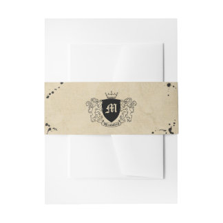 Vintage Monogram & Ink Stain Wedding Invitation Belly Band