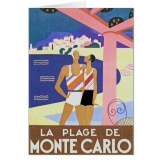 Vintage Monte Carlo Beach Greeting Card