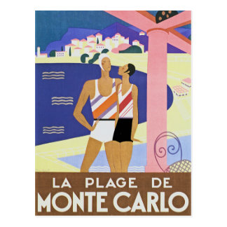 Vintage Monte Carlo Beach Post Card