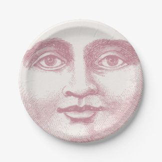 Vintage Moon Face in Pink Paper Plate