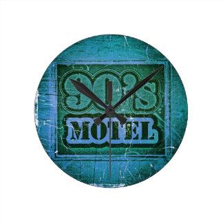 Vintage Motel 1990s Art Design Round Clock