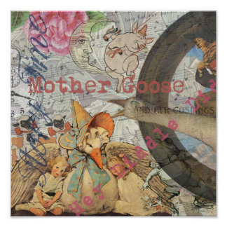 Vintage Mother Goose Fairy tale Collage Poster