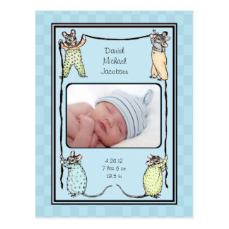 Vintage Mouse Baby Boy Birth Announcement Photo Postcard