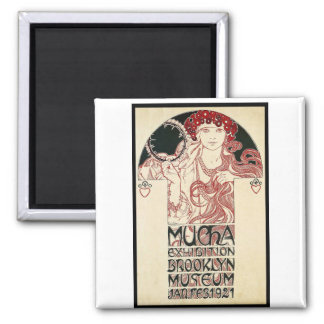 Vintage Mucha Exhibition Brooklyn Poster Magnet