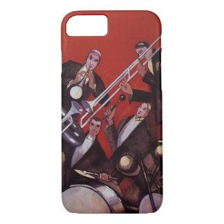 Vintage Music, Art Deco Musical Jazz Band Jamming iPhone 8/7 Case