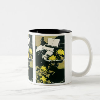 Vintage Music, Miss Traumerei Playing Piano, Reed Two-Tone Coffee Mug