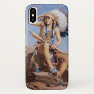 Vintage Native American Indian, The Scout by Leigh iPhone X Case