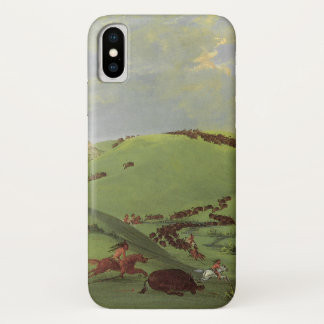 Vintage Native Americans, Buffalo Chase by Catlin iPhone X Case