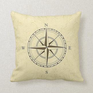 Vintage Nautical Compass Rose Ivory Throw Cushion
