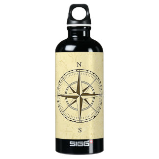Vintage Nautical Compass Rose Ivory Water Bottle